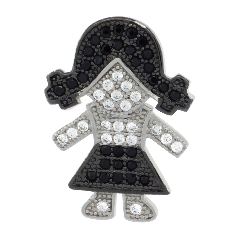 Sterling Silver Black & White CZ Girl Pendant Micro Pave 3/4 inch