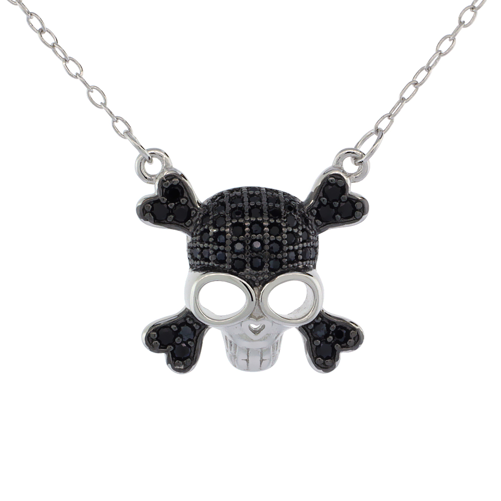 Sterling Silver Black & White CZ Skull & Crossbones Necklace Micro Pave 5/8 inch