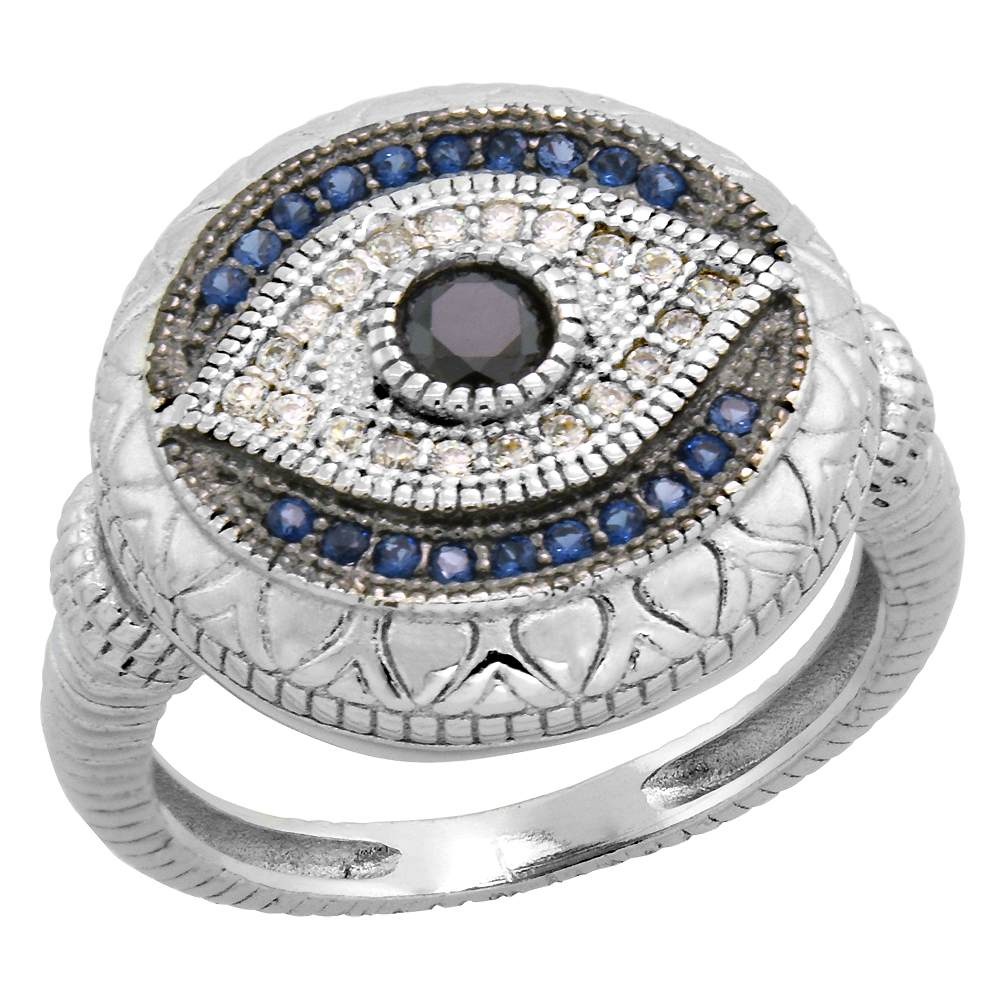 Art Deco Style Sterling Silver Evil Eye Ring w/ Synthetic Blue Sapphires & CZ stones 5/8 inch, sizes 6 - 9