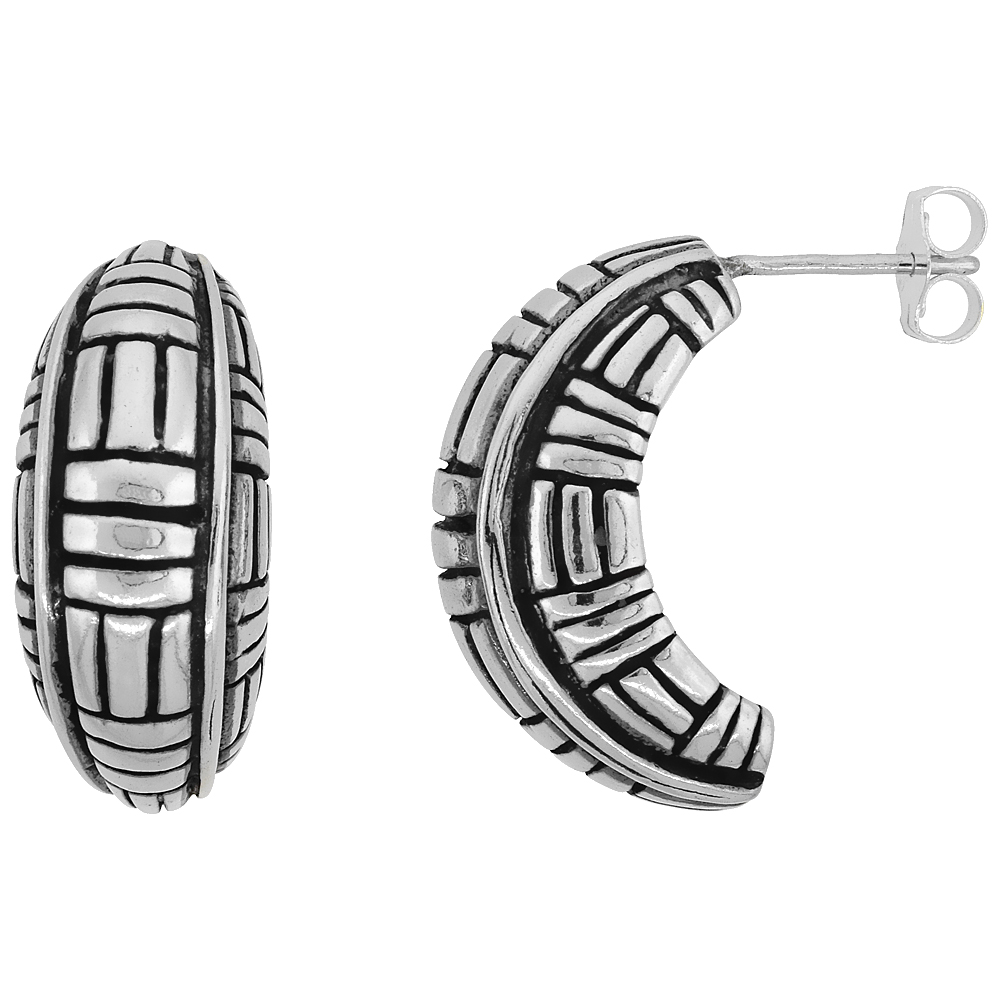 Sterling Silver Half Hoop Bali Style Post Earrings, w/ Vertical & Horizontal Line Pattern, 3/4 inch (19 mm) tall