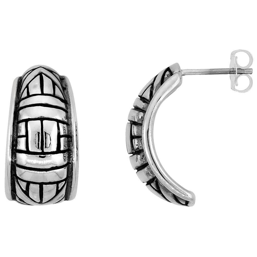 Sterling Silver Half Hoop Bali Style Post Earrings, w/ Vertical, Horizontal & Diagonal Line Pattern, 3/4 inch (19 mm) tall