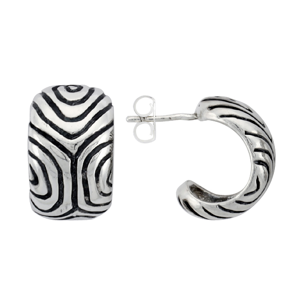 Sterling Silver Half Hoop Bali Style Post Earrings, w/ Freeform Design, 5/8 inch (16 mm) tall