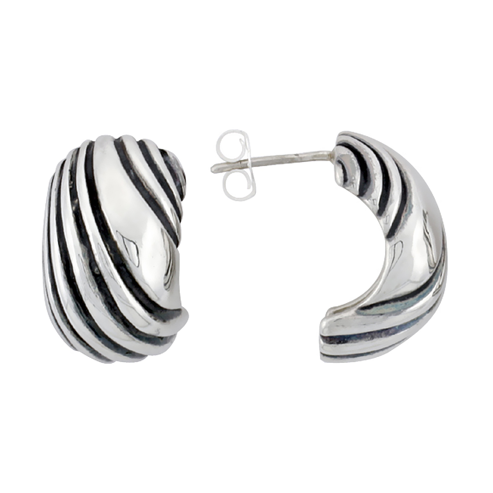Sterling Silver Half Hoop Bali Style Post Earrings, w/ Diagonal Line Pattern, 3/4 inch (19 mm) tall