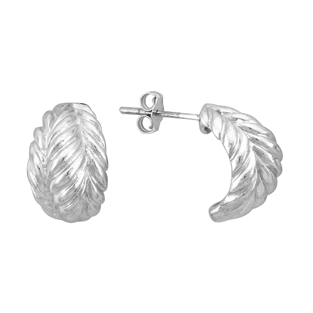Sterling Silver Half Hoop Bali Style Leaf Design Post Earrings, 5/8 inch (16 mm) tall