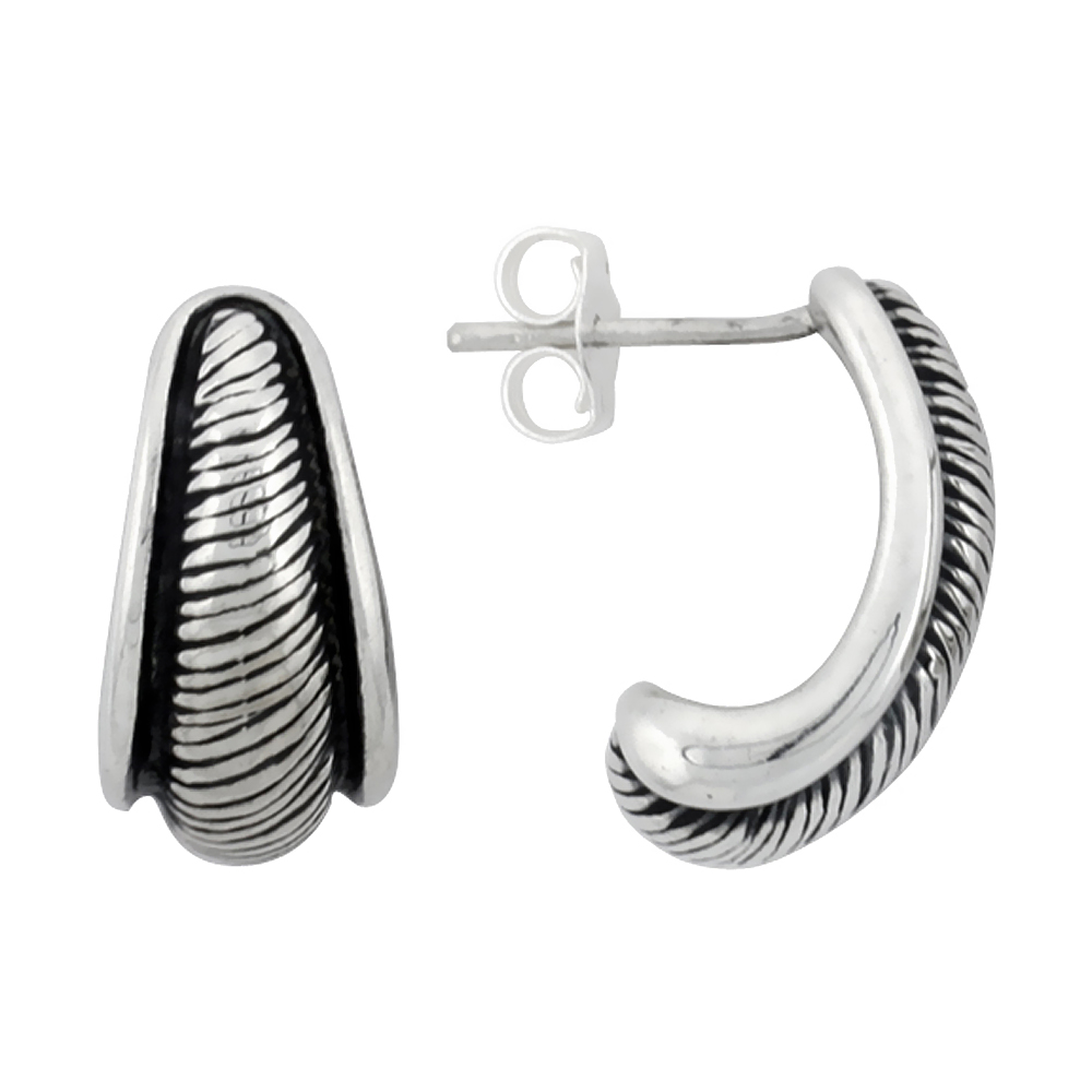 Sterling Silver Half Hoop Bali Style Post Earrings, w/ Diagonal Line Pattern, 5/8 inch (16 mm) tall