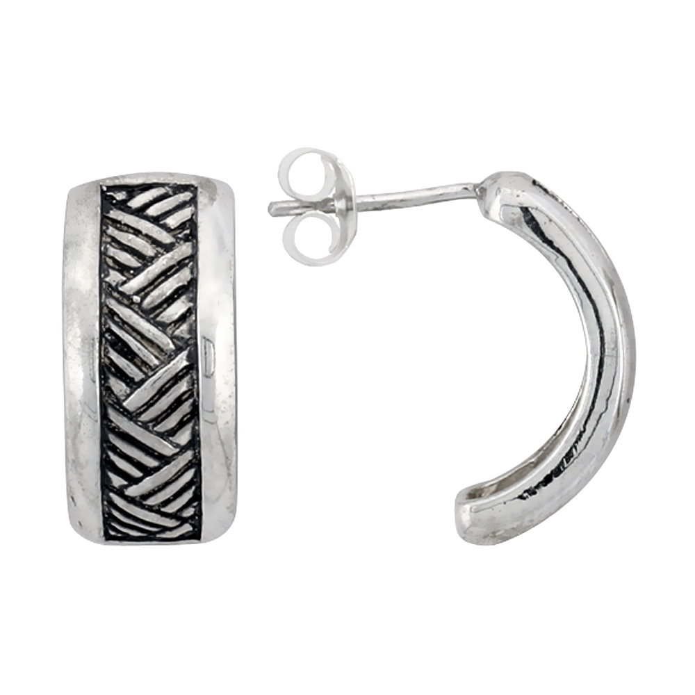Sterling Silver Half Hoop Bali Style Post Earrings, w/ Crisscross Pattern, 3/4 inch (17 mm) tall