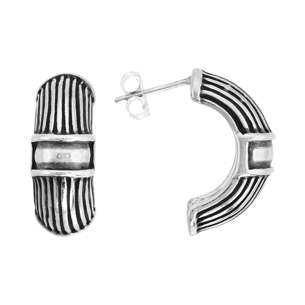 Sterling Silver Half Hoop Bali Style Post Earrings, w/ Vertical Line Pattern, 3/4 inch (19 mm) tall