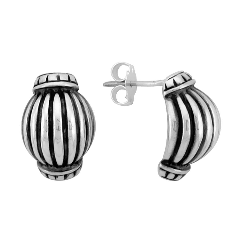 Sterling Silver Half Hoop Bali Style Post Earrings, w/ Vertical Line Pattern, 1/2 inch (15 mm) tall
