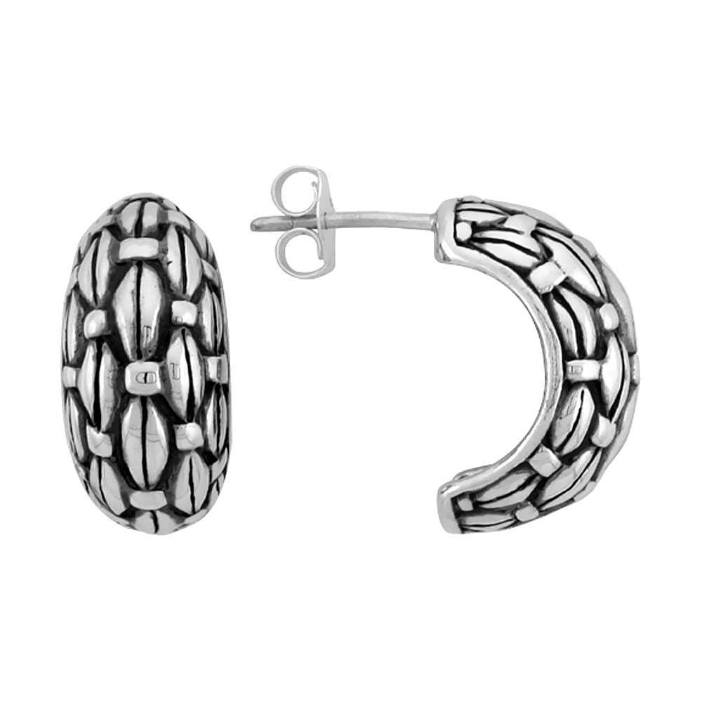 Sterling Silver Half Hoop Bali Style Post Earrings, w/ Freeform Design, 3/4 inch (17 mm) tall