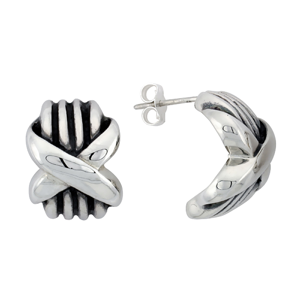Sterling Silver Half Hoop Bali Style Post Earrings, w/ Crisscross Design, 3/4 inch (17 mm) tall