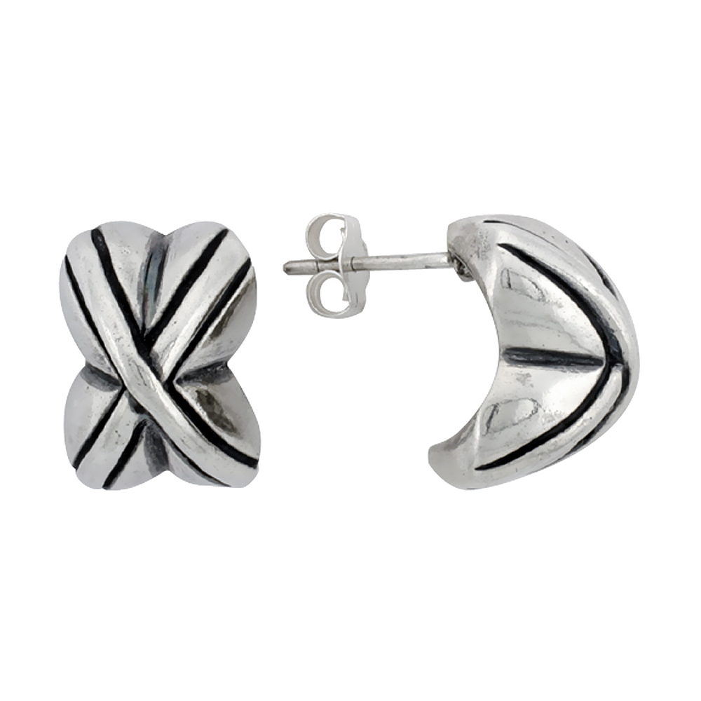 Sterling Silver Half Hoop Crisscross Style Post Earrings, 5/8 inch (16 mm) tall