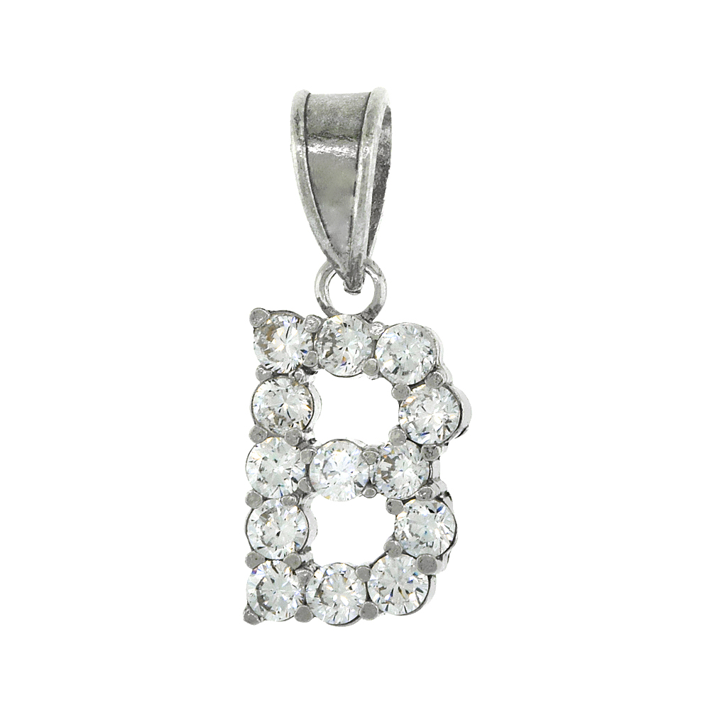 Sterling Silver Cubic Zirconia Initial Letter B Alphabet Pendant Rhodium Finish, 18 inch box_15