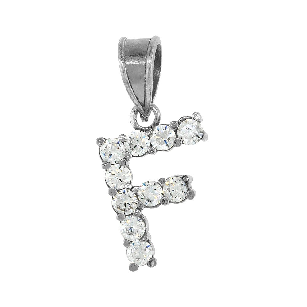 Sterling Silver Cubic Zirconia Initial Letter F Alphabet Pendant Rhodium Finish, 18 inch box_15