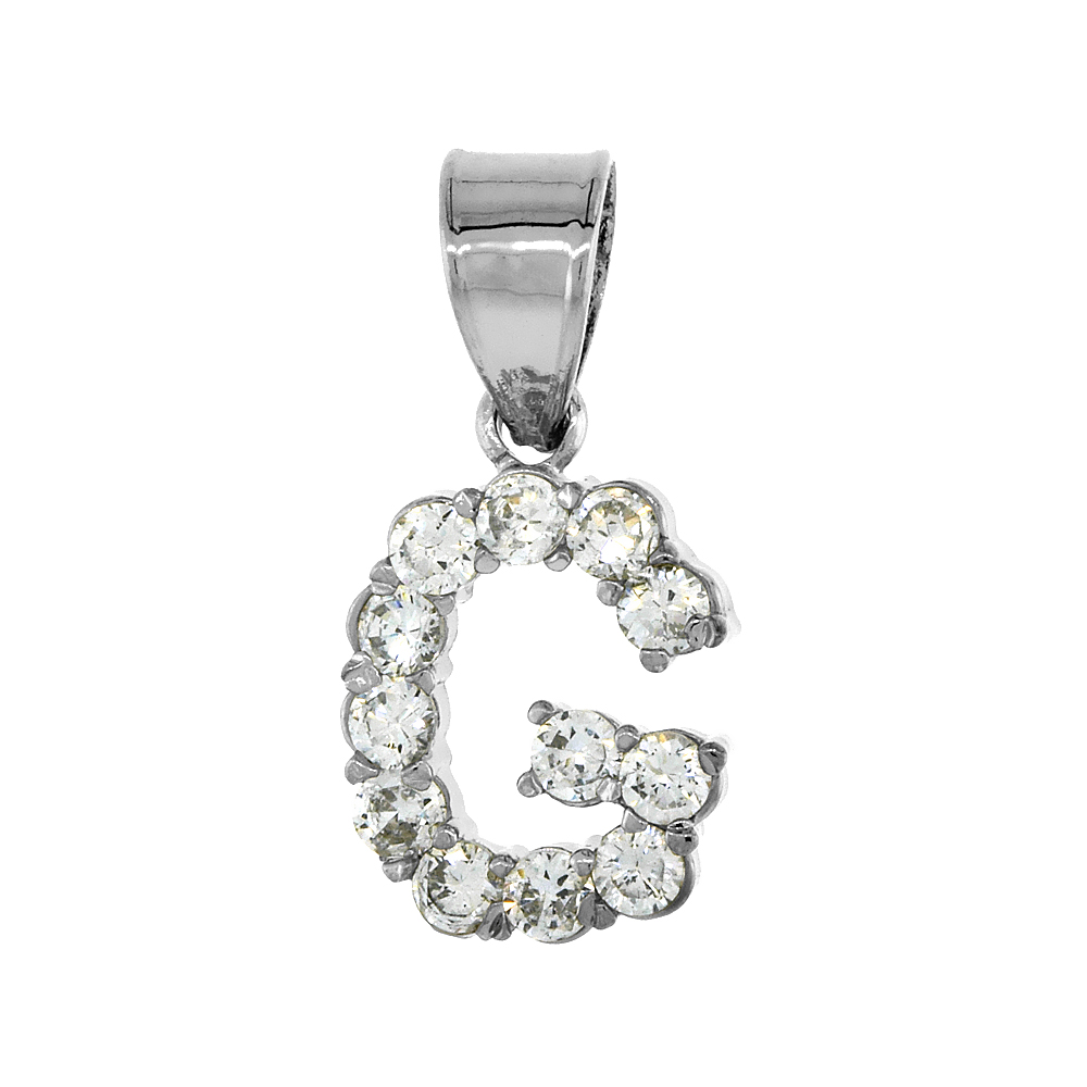 Sterling Silver Cubic Zirconia Initial Letter G Alphabet Pendant Rhodium Finish, 18 inch box_15