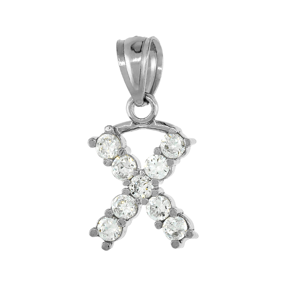Sterling Silver Cubic Zirconia Initial Letter X Alphabet Pendant Rhodium Finish, 1/2 inch long