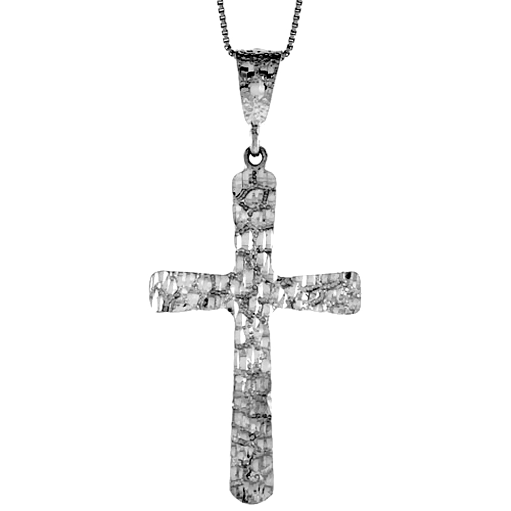 Sterling Silver Nugget Cross Pendant, 2 1/4 inch