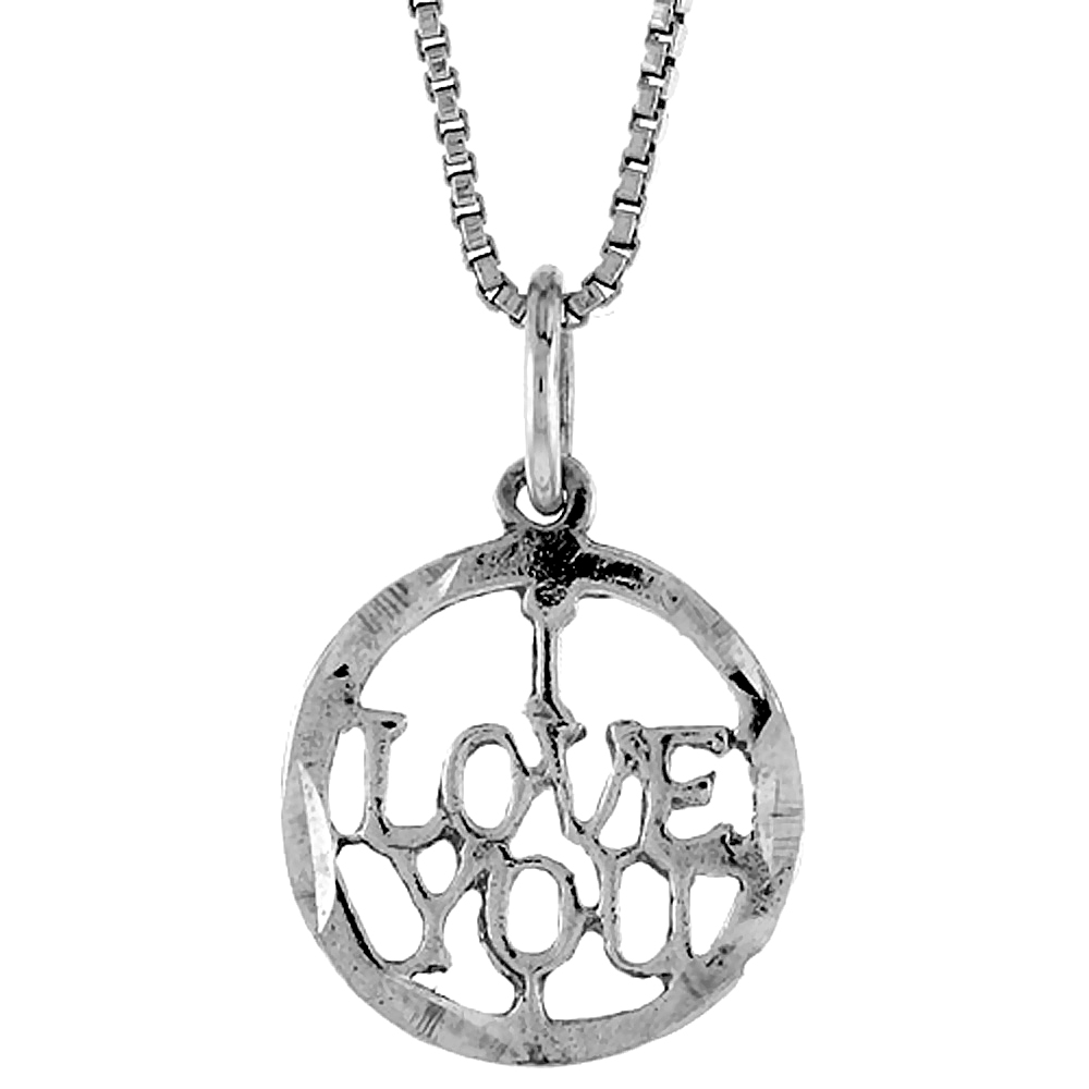 Sterling Silver I Love You Word Pendant, 1/2 inch Tall