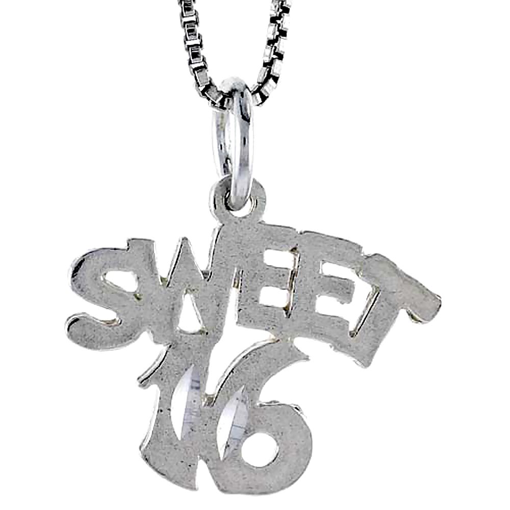 Sterling Silver Sweet 16 Word Pendant, 1/2 inch Tall