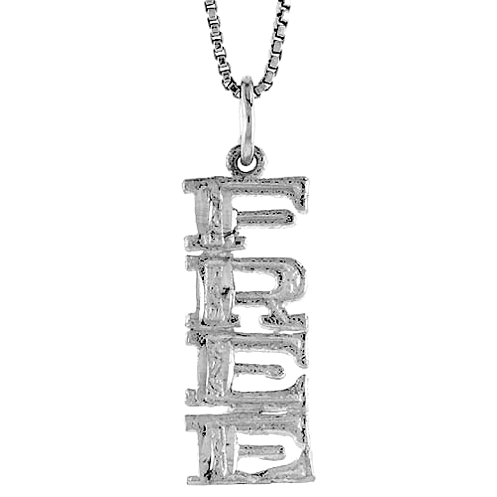 Sterling Silver FREE Word Pendant, 7/8 inch Tall