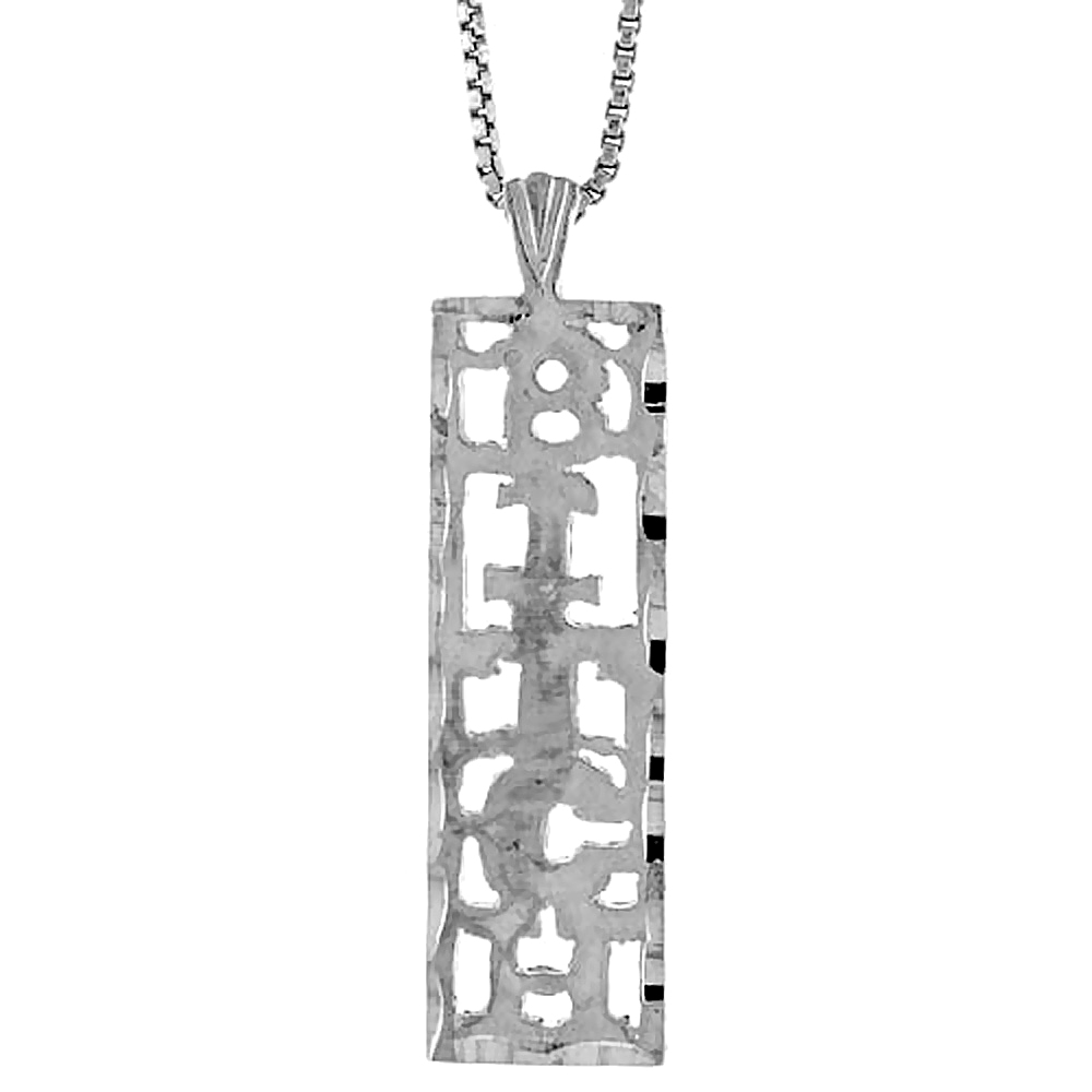 Sterling Silver BITCH Word Pendant, 1 1/4 inch Tall