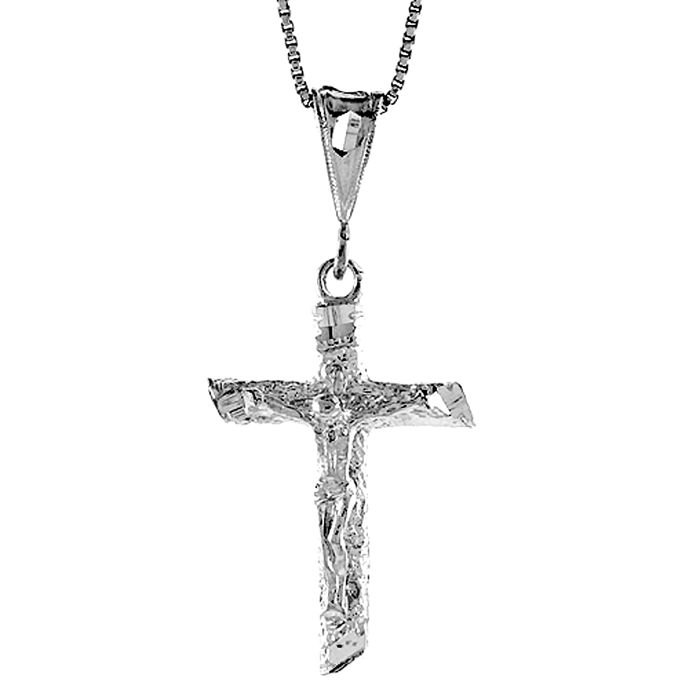 Sterling Silver Crucifix Pendant, 1 1/4 inch