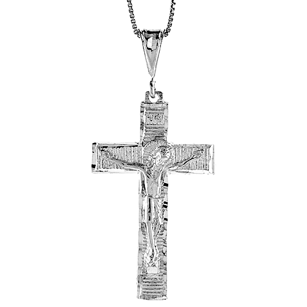 Sterling Silver Crucifix Pendant, 1 5/8 inch