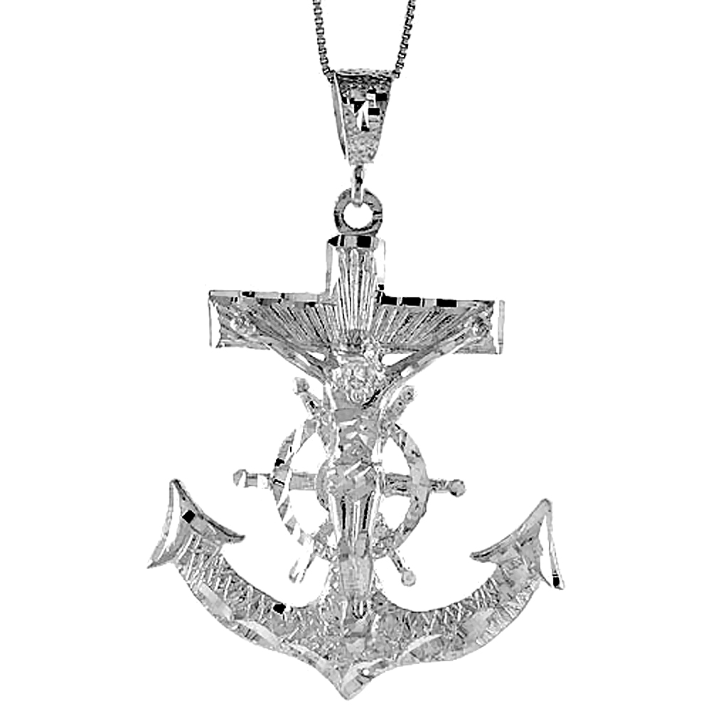 Sterling Silver Large Mariners Anchor Cross Pendant, 2 3/8 inch