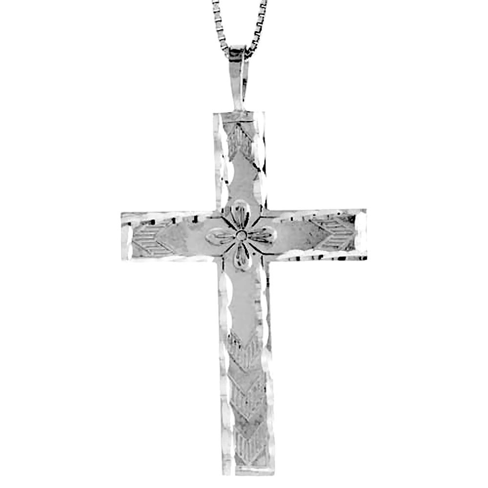 Sterling Silver Large Cross Pendant, 1 3/4 inch