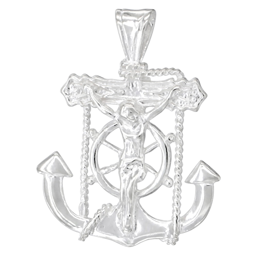 Sterling Silver Mariners Anchor Cross Pendant, 1 1/16 inch