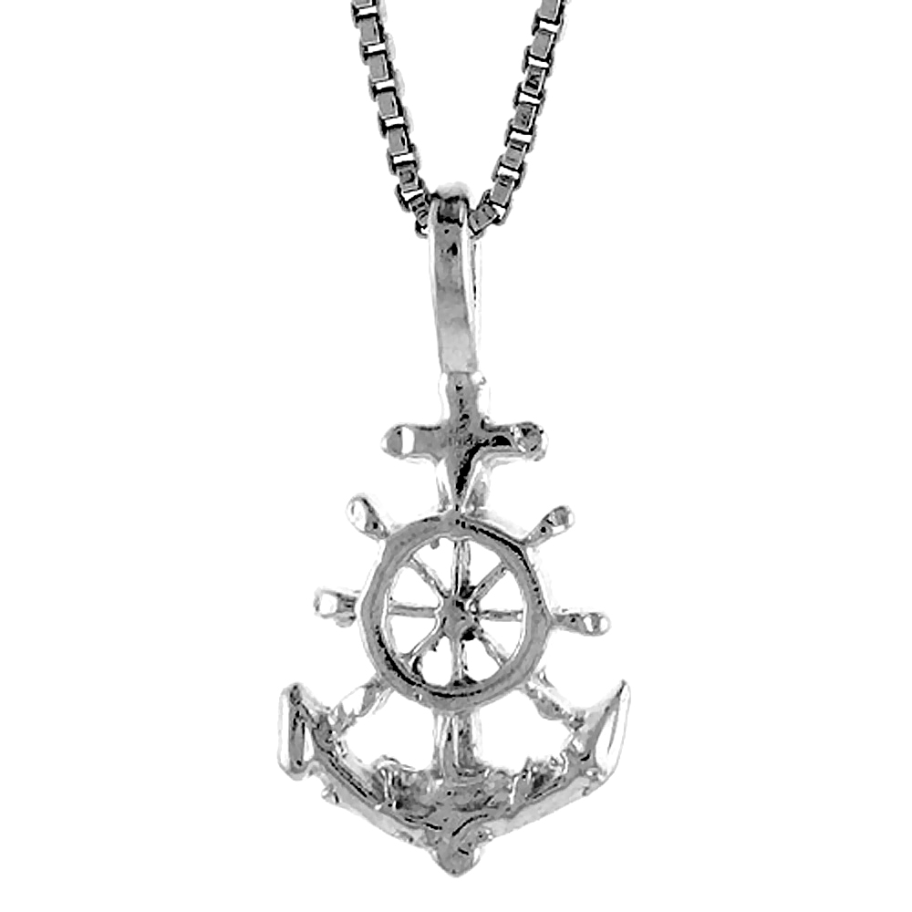 Sterling silver jewelry pendants crosses sterling silver anchor pendant 12 inch aloadofball