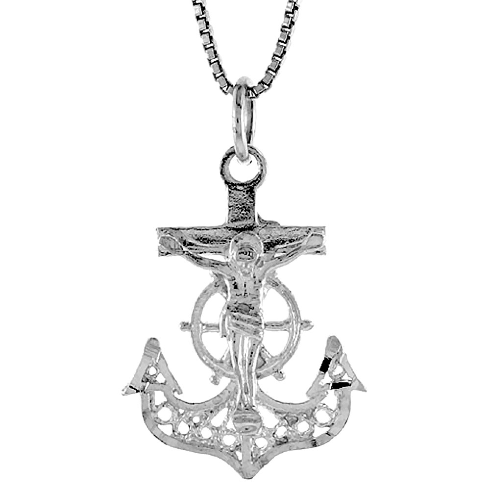 Sterling Silver Mariners Anchor Cross Pendant Filigree, 1 inch