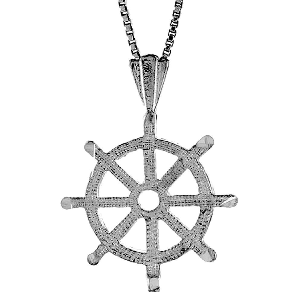 Sterling Silver Ships Wheel Pendant, 3/4 inch
