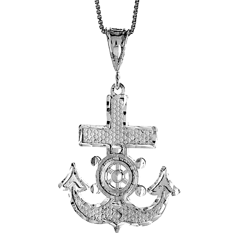 Sterling Silver Mariners Anchor Cross Pendant, 1 3/8 inch