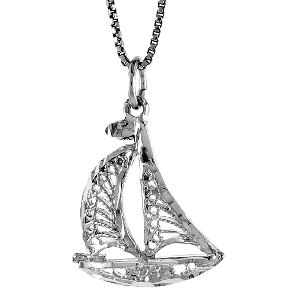 Sterling Silver Sailboat Pendant, 7/8 inch