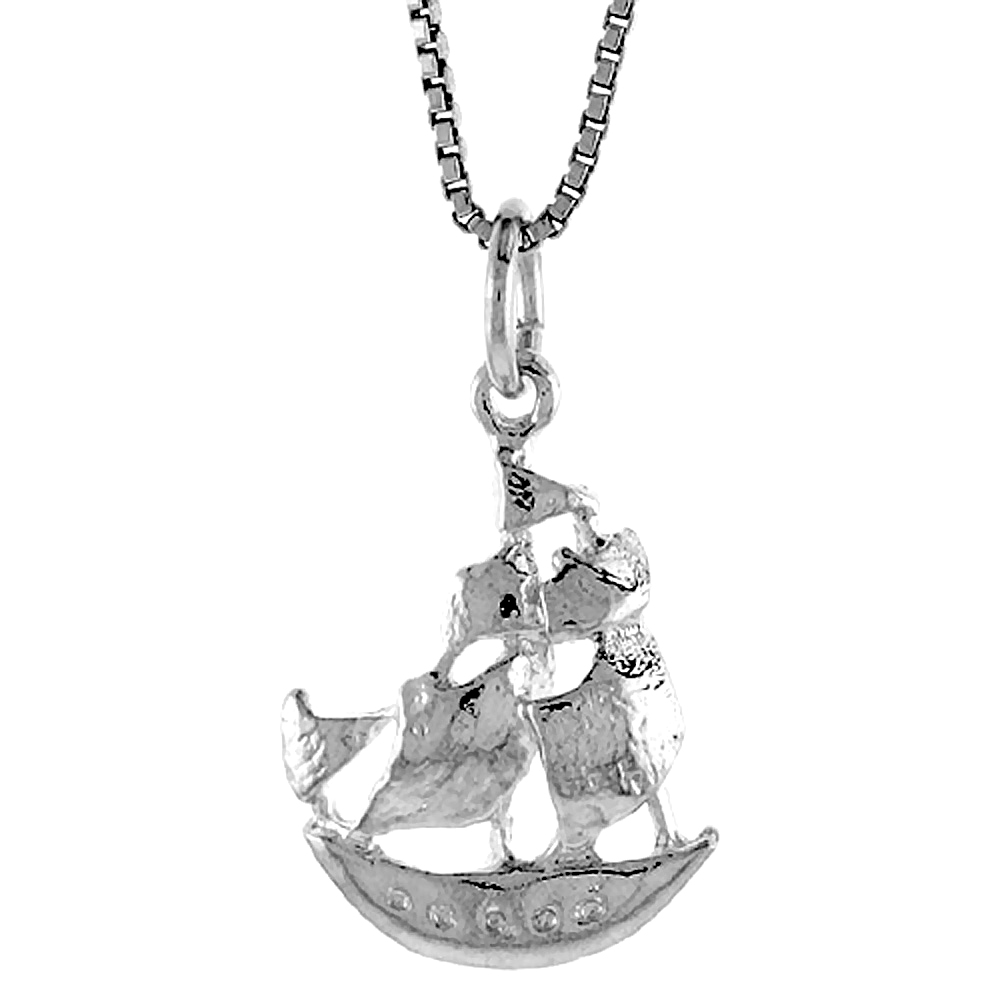 Sterling Silver Ship Pendant, 3/4 inch