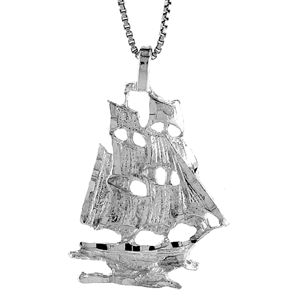 Sterling Silver Tall Ship Pendant, 1 1/16 inch