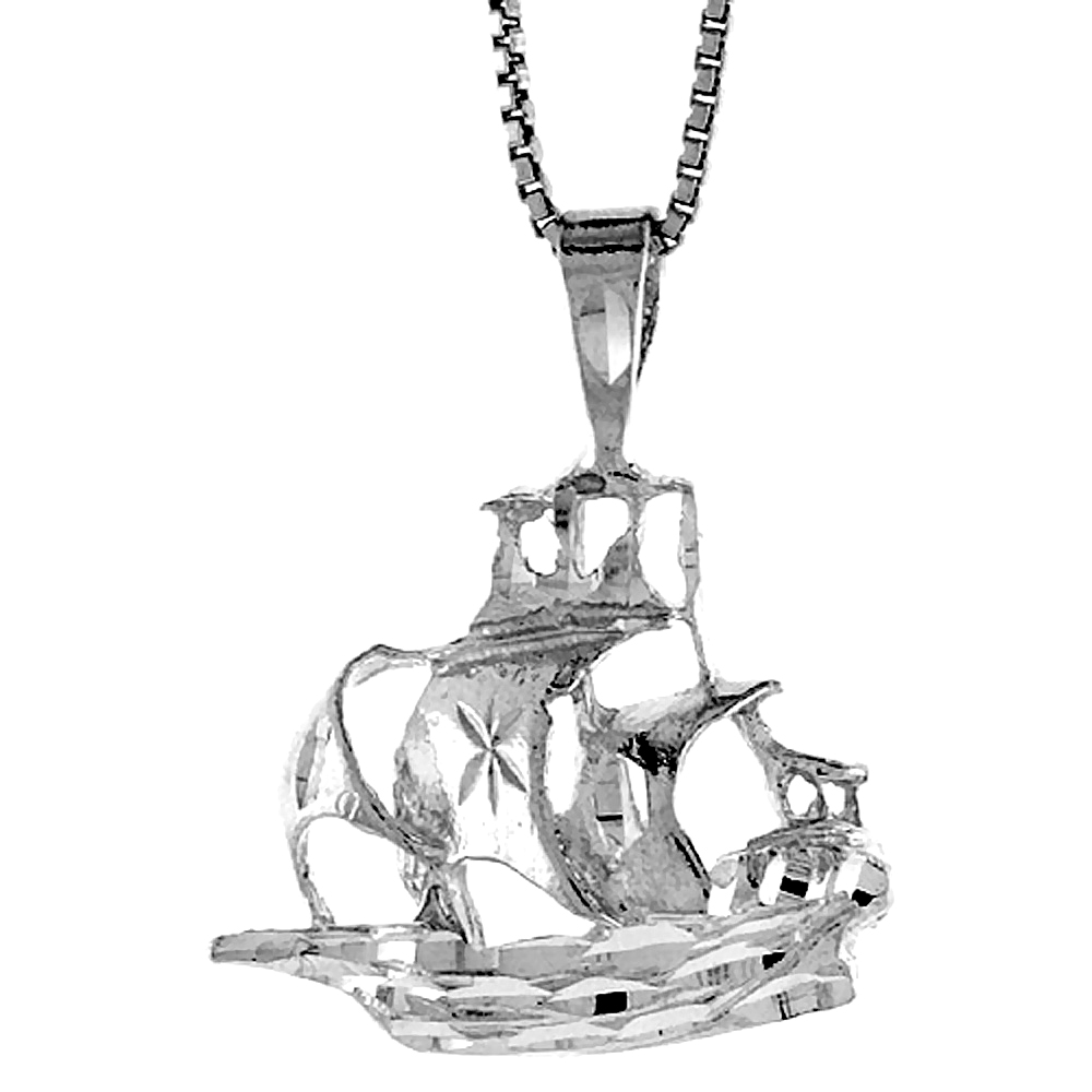 Sterling Silver Tall Ship Pendant, 3/4 inch