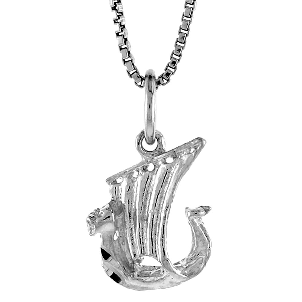 Sterling Silver Tiny Viking Boat Pendant, 1/2 inch