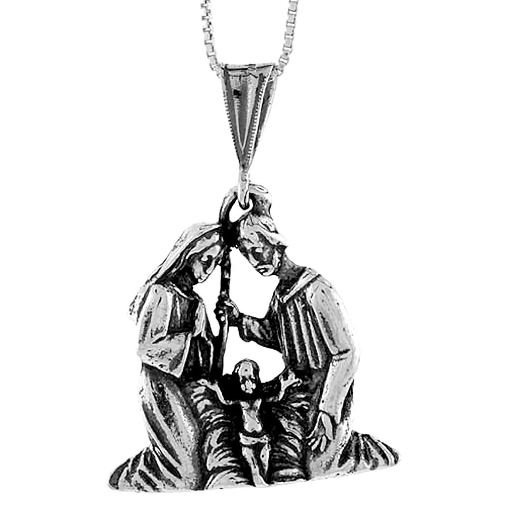 Sterling Silver Nativity Pendant, 1 1/16 inch