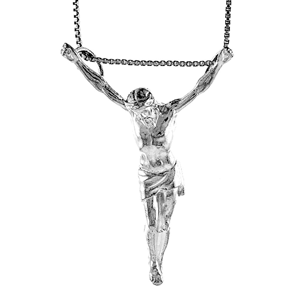Sterling Silver Body of Christ Pendant, 1 3/4 inch