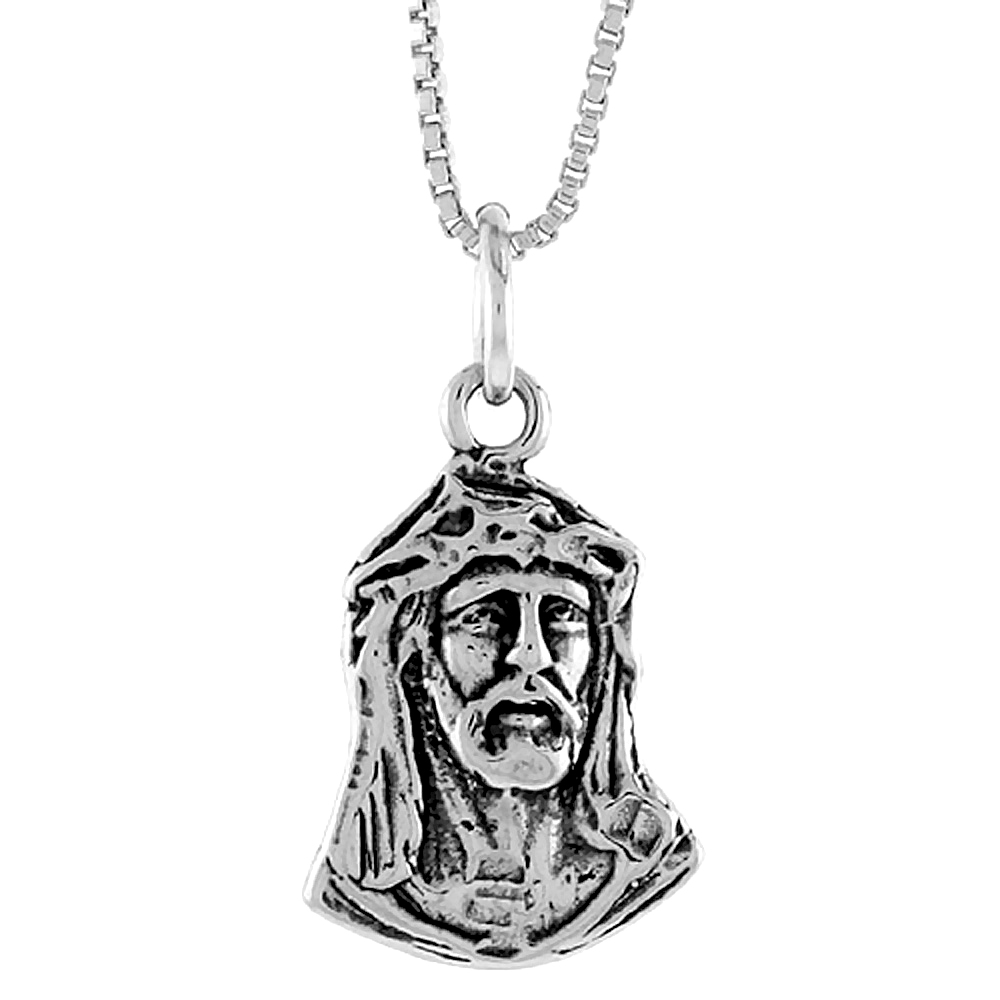 Sterling Silver Christ with Crown of Thorns Pendant, 3/4 inch