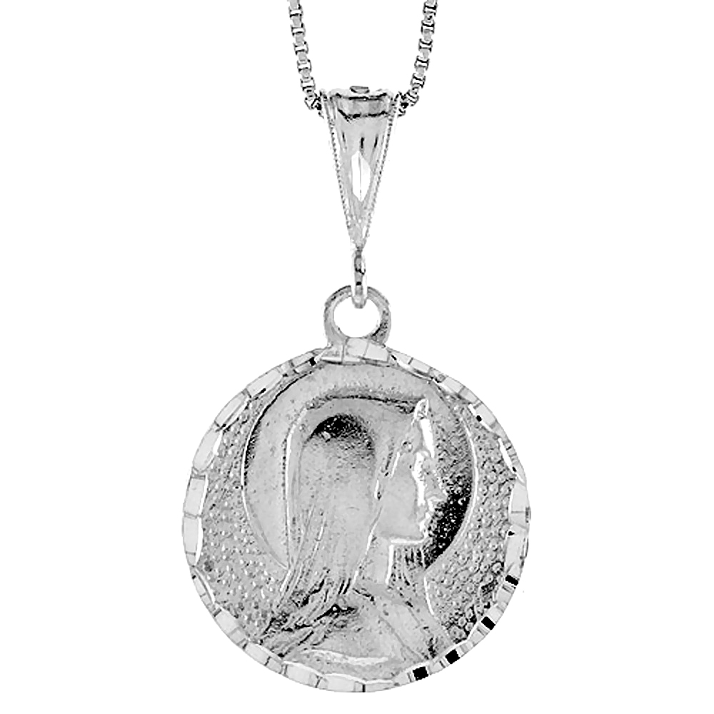 Sterling Silver Mother Mary Medal, 1 inch