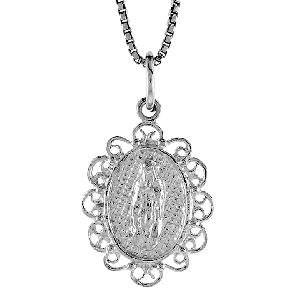 Sterling Silver Mary Immaculate Medal, 3/4 inch
