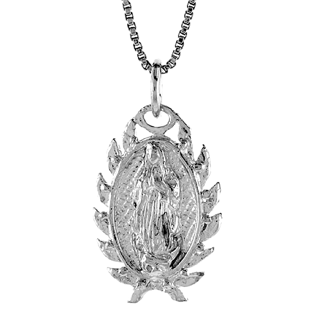 Sterling Silver Mary Immaculate Medal, 7/8 inch