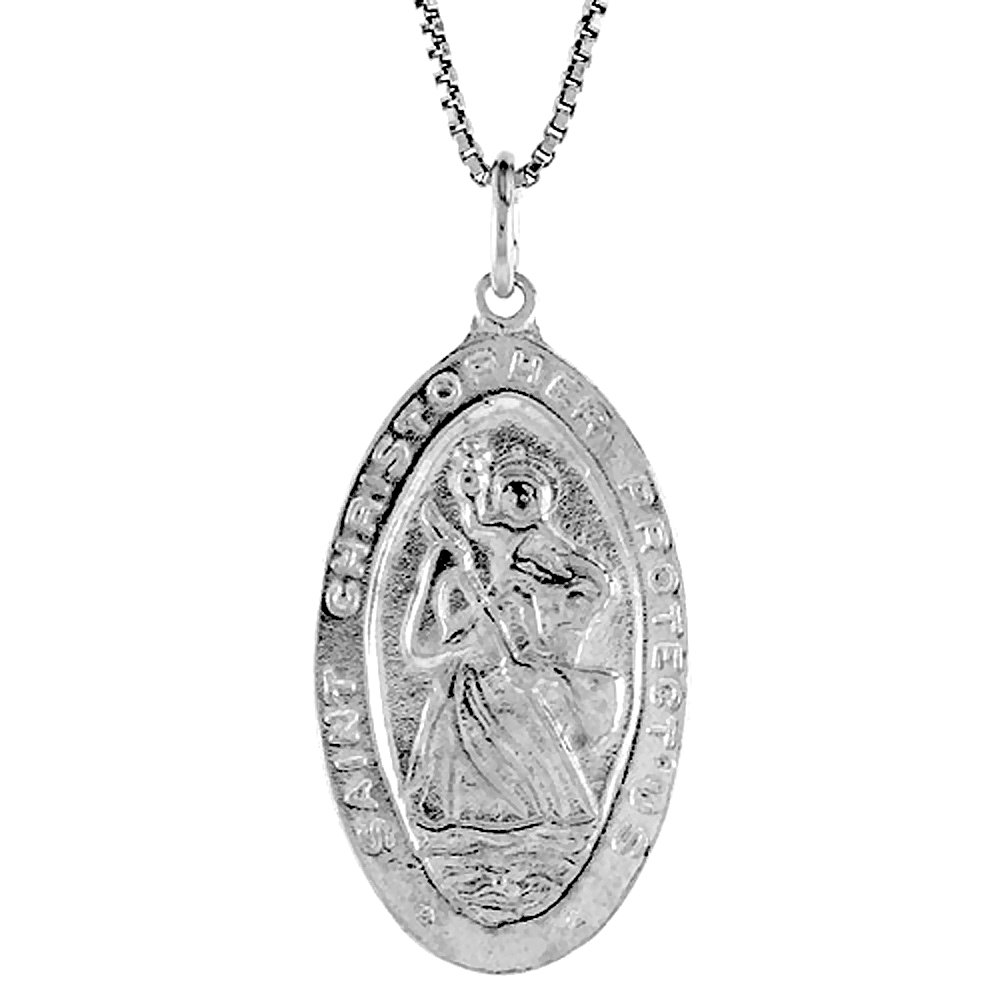 Sterling Silver St Christopher Medal , 1 1/4 inch