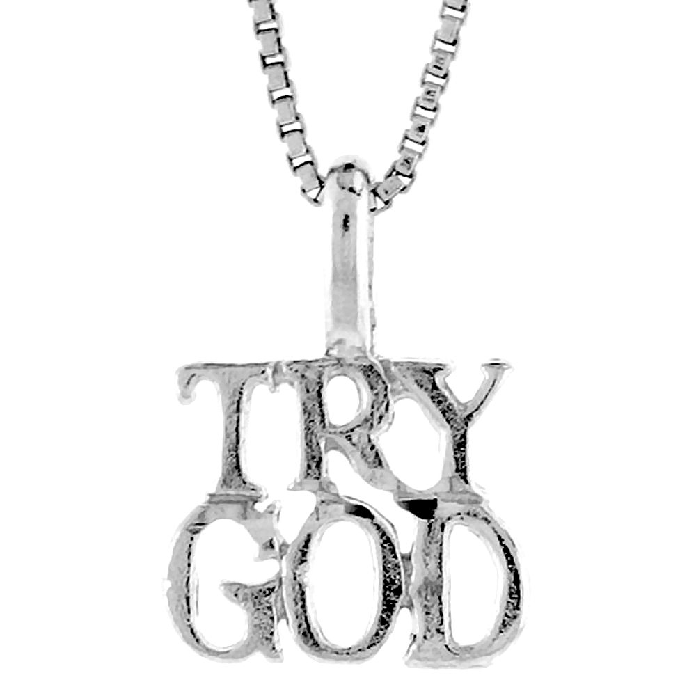 Sterling Silver TRY GOD Pendant, 3/8 inch