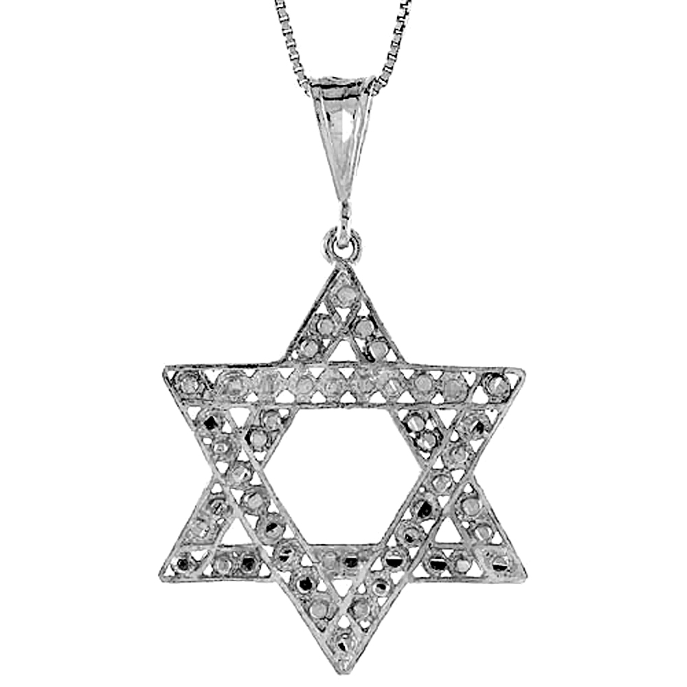 Sterling Silver Star of David Pendant, 1 1/2 inch