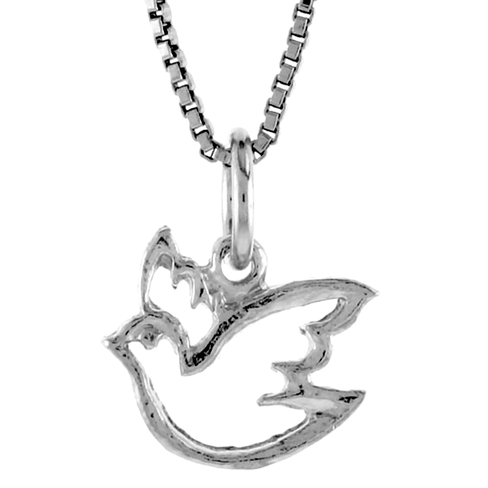Sterling Silver Cut-out Ascending Dove Pendant, 3/8 inch