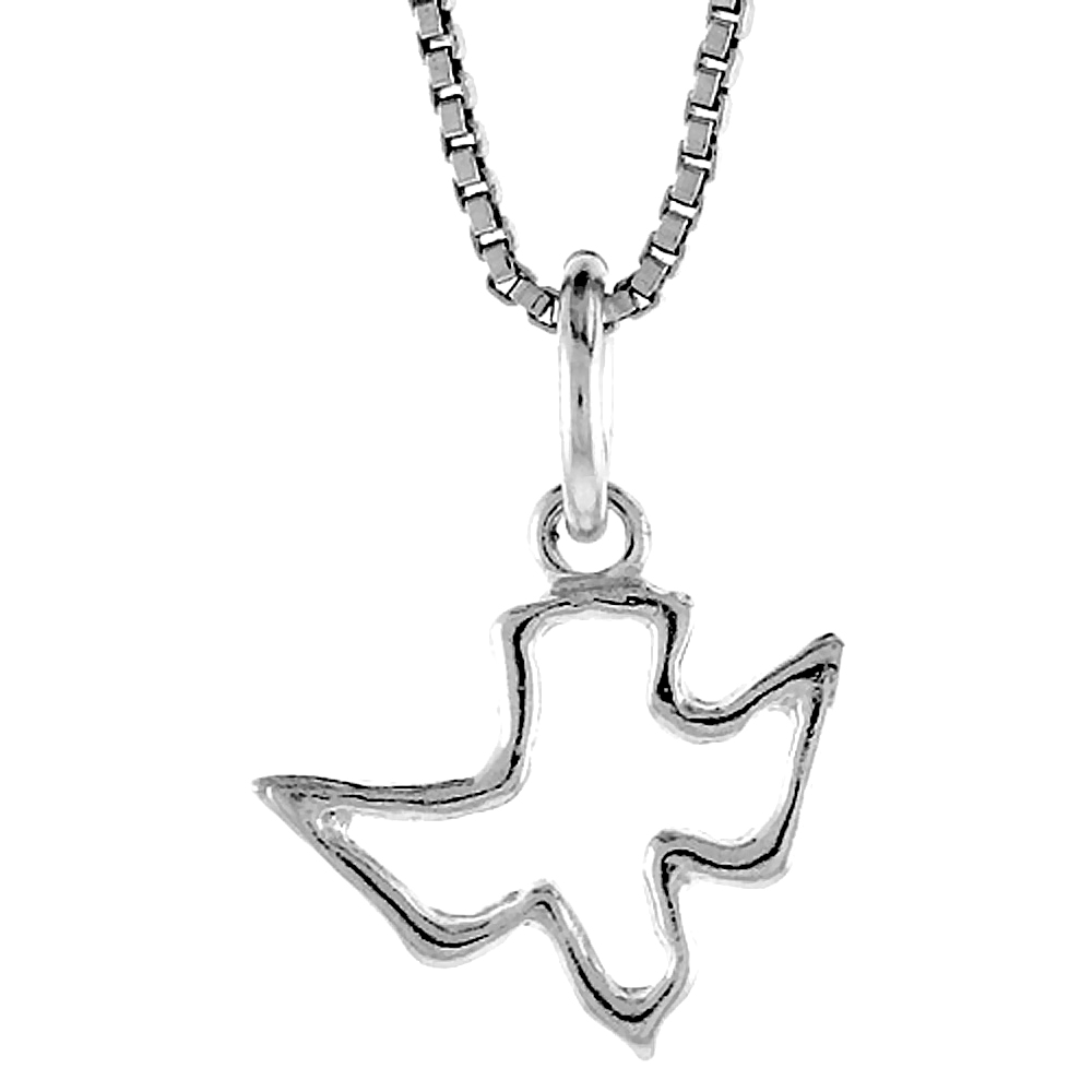 Sterling Silver Cut-out Descending Dove Pendant Holy Spirit, 1/2 inch