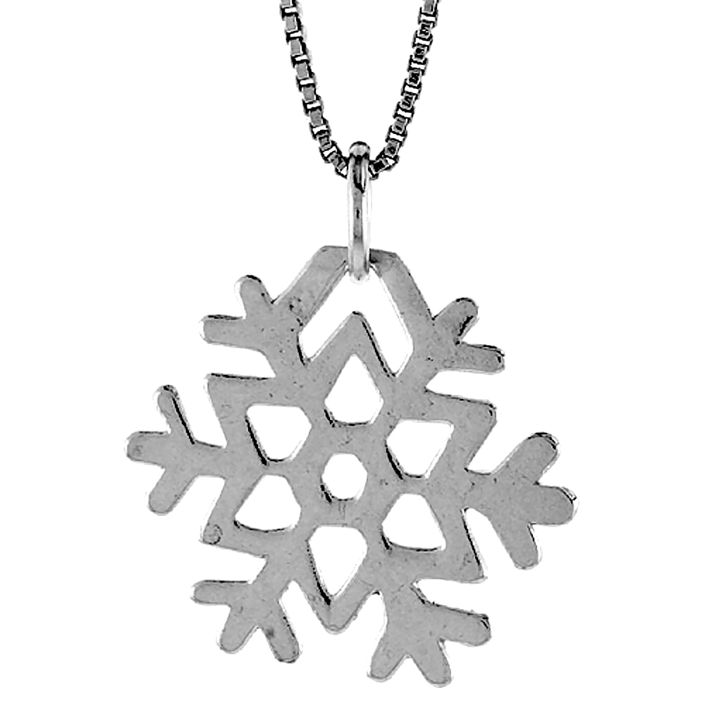 Sterling Silver Snowflake Pendant, 3/4 inch